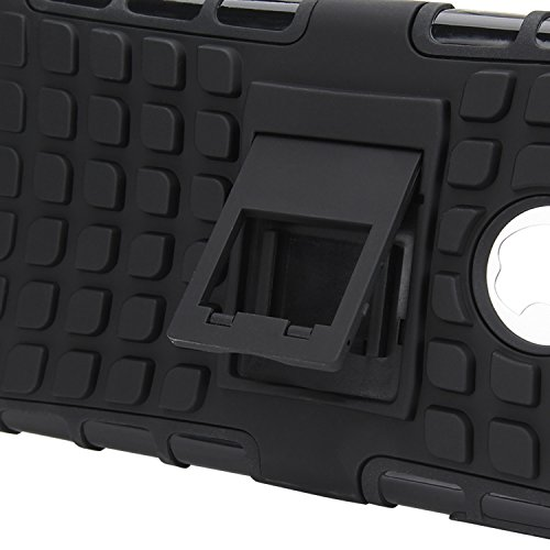 iPhone 7 Plus Hülle, APICI Heavy Duty Bumper Hardcase Dual Layer 2 in 1 Silikon PC Reifenmuster Rüstung Stehen Stoßfest Fallschutz Tasche Handyhülle Stoßdämpfend Schutzhülle Outdoor Case Schutz für Ap Schwarz
