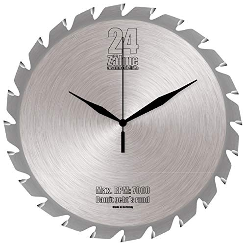 Sägeblatt Glas Wanduhr Küchenuhr Hobby Uhr Bürouhr Hobbyraum Partykeller 28cm