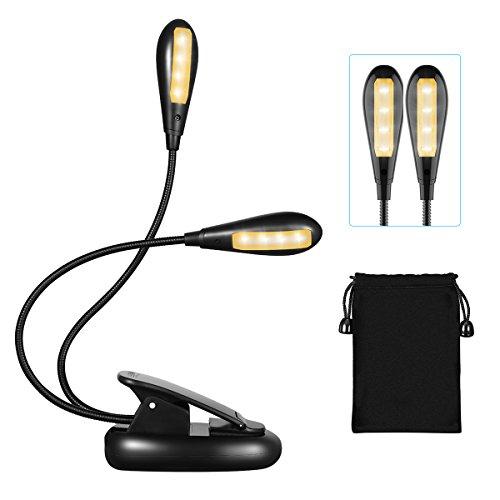 Leselampe Buch Klemme, TOPELEK LED Buchlampe LED Klemmleuchte mit 8 LEDs, USB Wiederaufladbar, 360° Flexibel Schwanenhals, 5-Stufe Helligkeit, USB-Kabel für Nacht Lesen, Kindle, Notenständer, Büro.