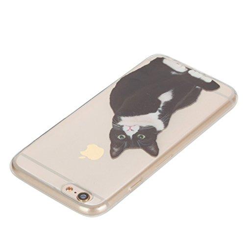 Custodia per Apple iPhone 6/6S 4.7 morbido Gomma,Herzzer Crystal Creativo Elegante Carino Quadro Design Snap-on Colorato Copertura caso,Protettivo Skin Liscio Ultra Slim Sottile Cristallo trasparente Nero Gatto