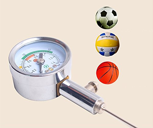 Firelong Ball Air Pressure Gauge Heavy Duty Metal Made Test and Adjust the Pressure for Football Soccer Rugby Basketball Volleyball and Other Balls