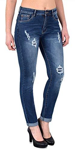 ESRA Damen Skinny Stretch Jeans mit Risse Destroyed Look Hüftjeans Jeanshose große Größen # S600