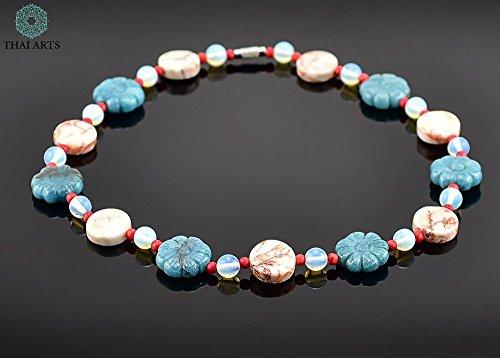 """Halskette """"Siesun Dokmei"""", Kette für Frauen (Korallenkette aus Handarbeit), exklusiver Schmuck mit Perlen für Frauen mit Stil. Handgefertigte Perlenkette aus Thailand"""