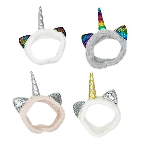 Lurrose 6 stücke einhorn pailletten stirnband elastische haarband cat ohr kopf wickeln waschen gesicht dusche haarschmuck für frauen mädchen ()