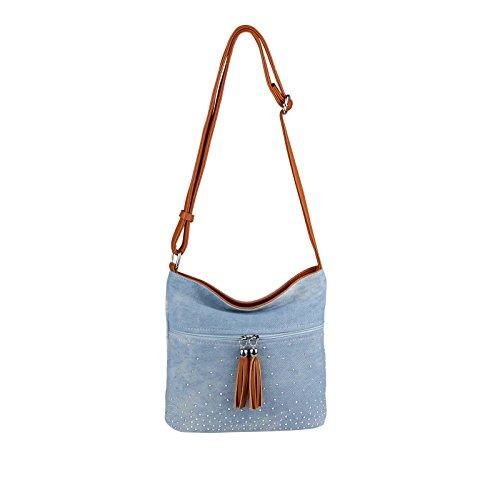 OBC DAMEN JEANS TASCHE SHOPPER Hobo-Bag Canvas Crossbody Bag Nieten Strasssteine Henkeltasche Schultertasche Umhängetasche Handtasche Glitzer (Hellblau-Braun 17x15x10 cm)