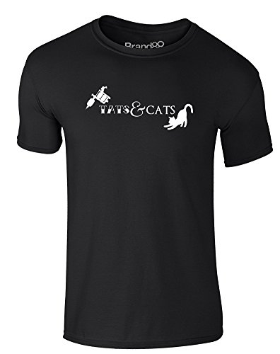 Brand88 - Tats & Cats, Erwachsene Gedrucktes T-Shirt Schwarz/Weiß
