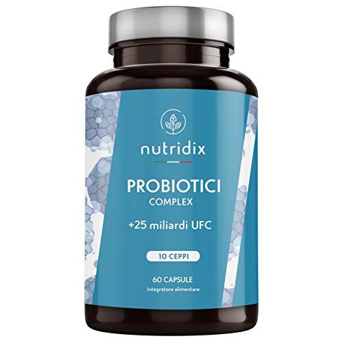 Probiotici 25 Miliardi di UFC per dose | 10 Ceppi di Cellule Vive | 60 Capsule Vegetali Gastroresistenti | Probiotici Complex | Prodotto da Nutridix