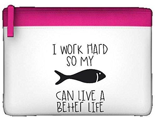 I lavori rigida So My Pesce può avere una vita migliore Cute Funny Animal a tema astuccio piatto Misura unica Pink