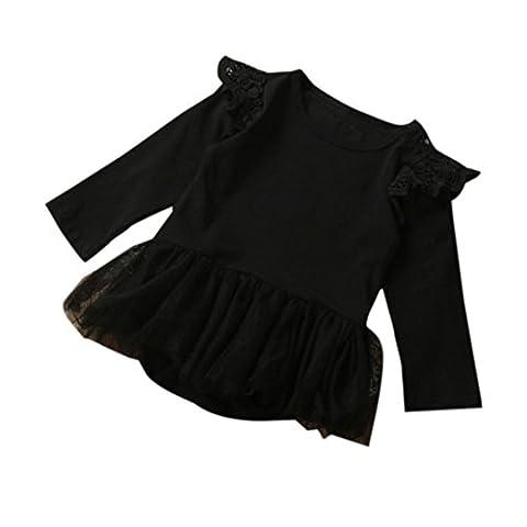 Saingace Bébé Fille Tutu Romper Dentelle Combinaison Bébé vêtements Outfits (Label Size:90(12-18mois), Noir)