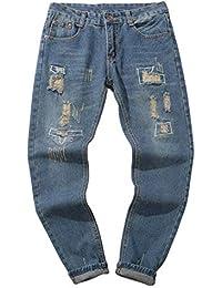 Pantalones Vaqueros Rotos Hombre,ZARLLE Jeans Pantalones Vaqueros EláSticos Skinny Slim Fit Delgados, Pantalones Largos De…