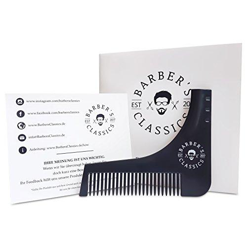 Premium Bartschablone – inkl. online Anleitung & Geschenkverpackung – Die männliche Rasierschablone in elegantem schwarz - Für die perfekte Bartform und Kontur mit Barttrimmer oder Rasierer.