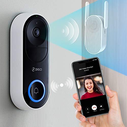 360 D819 Türklingel mit Kamera, Funkklingel mit Kamera|1080P HD Video, Glockenspiel mit WiFi-Extender, 5000-mAh-Akku, Cloud-Speicher, AI-Gesichtserkennung, 2-Wege-Gespräch