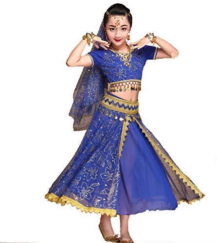 SMACO Niña FaldasTrajes de Danza del Vientre para niños Trajes de desempeño de la India Trajes para niños Trajes de Rendimiento (Juego de 5),Blue,M