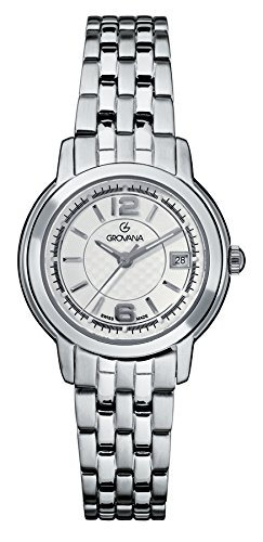 GROVANA 5581.1132 Women's Quartz Swiss Watch with Silver Dial Analogue Display and Silver Stainless Steel Bracelet