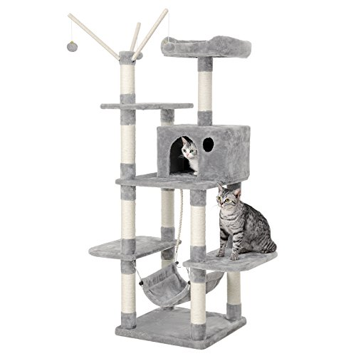 SONGMICS Cat Tree Cat Scratcher Activity Centres Scratching Post with a hammock Light grey PCT86W, M