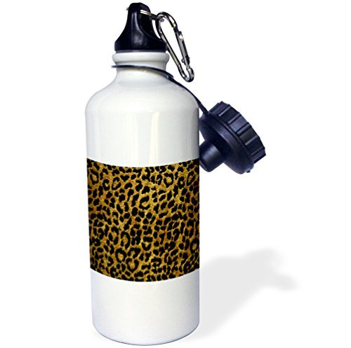 Sports Water Bottle Gift, Rockabilly Metallic Gold And Black Leopard Print White Stainless Steel Water Bottle for Women Men 21oz (Womens Leopard Metallic)