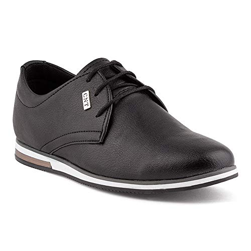 Fusskleidung Herren Business Schnürer Casual Halb Sneaker Schuhe Anzugschuhe Schwarz EU 42 -