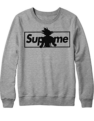 HYPSHRT Herren Sweatshirt Supreme Son Goku Parody C000389 Grau M (Freezer Cyborg)