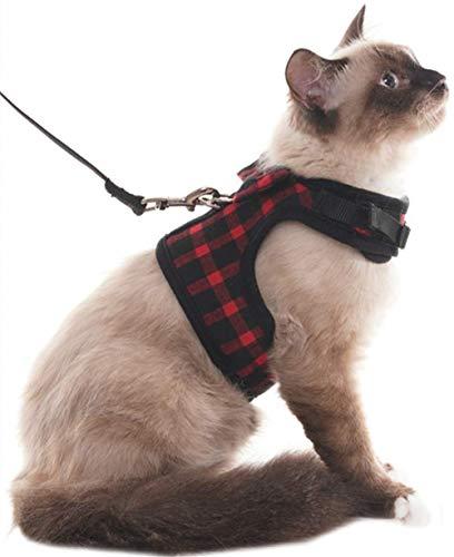SCIROKKO Katzengeschirr und Leine, auslaufsicher, gepolsterte Weste, verstellbar für Spaziergänge