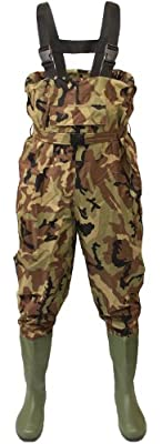 Michigan Camo Camouflage Waterproof Nylon Fishing Chest Waders with Belt Sizes 6 - 12 by Michigan