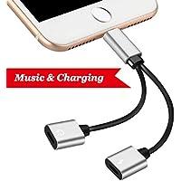 Lightning 2in 1Adapter für iPhone 7/7Plus iPhone 8/8PLUS iPhone X. doppelt Lightning Kopfhörer Jack Adapter. AUX Kopfhörer Jack Adapter Anschluss Zubehör Kabel Splitter Konverter Jack Laden Kopfhörer [Audio + Charge + Music Control + Phone Call] Unterstützung für iOS 10,3/11oder später