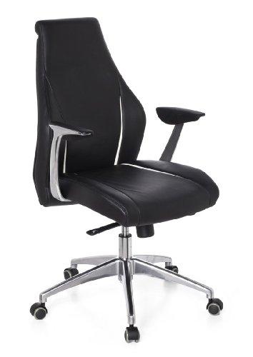 hjh OFFICE 600160 chaise de bureau haut de gamme, fauteuil de direction CARMINO 10 noir en cuir véritable, avec accoudoirs, dossier haut et inclinable au rembourrage souple, piètement robuste et stable