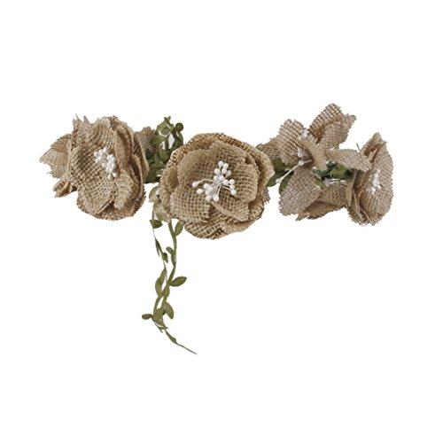 Flores Guirnalda De Arpillera Rústicas Del Boda Nupciales Del Pelo Tocado De La Venda