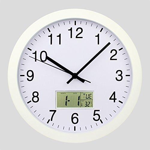 Horloge murale silencieuse de non-coutume de 12 pouces W / cadre en aluminium, couverture avant acrylique, date, température d'intérieur, semaine ( Couleur : Blanc )