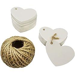 100 Etiquetas de Carton forma corazón blanco con 30 Metros de Hilo de Yute