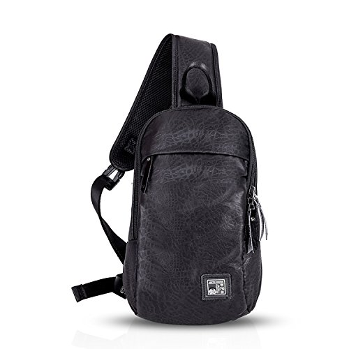 FANDARE Mode Sling Bag Rucksack Umhängetasche Brusttasche Messenger Bag Hiking Bag Daypack Crossbody Bag Schultertasche Sports Reisetasche Polyester Camo Schwarz