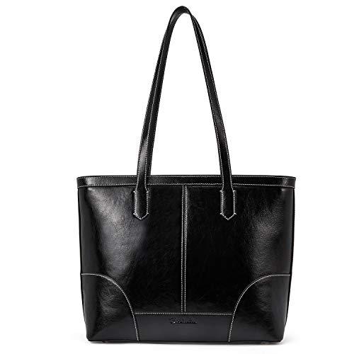 BOSTANTEN Handtasche Leder Damen Schultertaschen groß Umhängetasche Designer Henkeltasche Tote Bag Schwarz