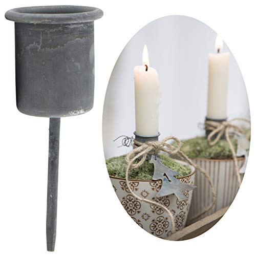 LS-LebenStil Stabkerzen-Halter Metall Spieß Grau Kerzenständer Kerzenleuchter