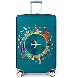 Housse de Valise 18-32 Pouces Fibre de Charbon de Bambou Luggage Cover en Polyester Clear Voyage Luggage Trolley Case Cover Protector (couleur 2, S)