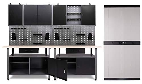 Ondis24 Werkstatteinrichtung 332x60x205 (H) cm, Arbeitshöhe 85 cm, mit MEGA XL Schrank, bestehend...