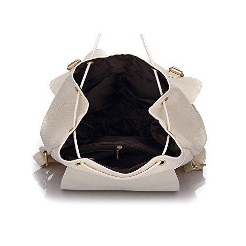 Hippolo Schulrucksack Schulranzen Einfarbig Schultasche Rucksack Freizeitrucksack Daypacks Backpack Mädchen Damen Weiß