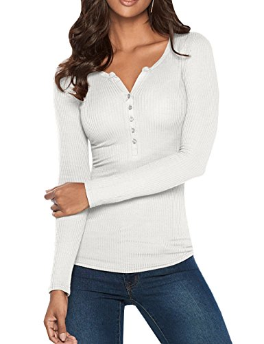 Pxmoda Damen Henley Shirt Langarm Casual Ripped Scoop Neck Button Basic-Oberteile (Weiß, Medium) -
