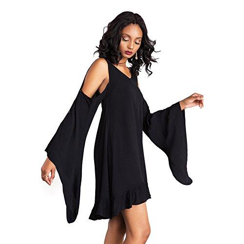 ASCHOEN - Robe - Dos ouvert - Uni - Manches Longues - Femme Noir