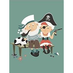 "Lienzo ""The sailor and the pirate"" de Kidz Collection, 100 x 130 cm."