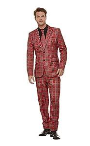 Smiffys 50790M - Traje de cuadros escoceses para hombre, talla M, 96,5-101,6 cm, color rojo