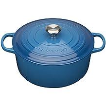 Le Creuset Evolution - Cocotte redonda, de hierro colado esmaltado, 26 cm, color azul marsella