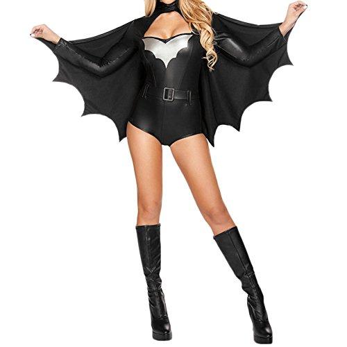 LAEMILIA Halloween Damen Frauen Schwarz Cosplay Overall Umhang Flügel Kostüm Vampir