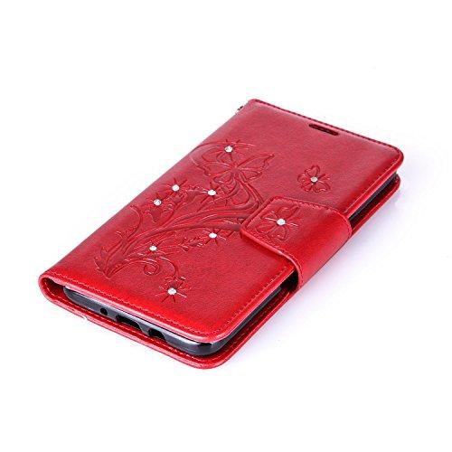 Custodia Samsung Galaxy J7 2016, ISAKEN Samsung Galaxy J7 Cover con Strap, Elegante borsa Dente di leone Design in Pelle Sintetica Ecopelle PU Case Cover Protettiva Flip Portafoglio Case Cover Protezi Diamnate farfalle : rossa