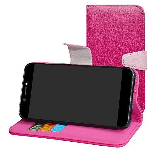Labanema Archos Core 50 Hülle Case,Lederhülle PU Leder Flip Tasche Handy Schutzhülle Handyhülle mit [Ständer Funktion] Card Holder Kunstleder Cover für Archos Core 50-Rose Red
