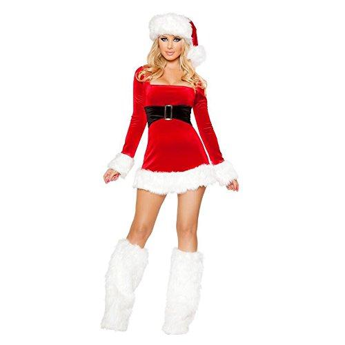 Feicuan-Mujer-adulto-Navidad-Disfraz-Rojo-Mini-Fancy-Vestidos-with-Hat-and-Foot-set