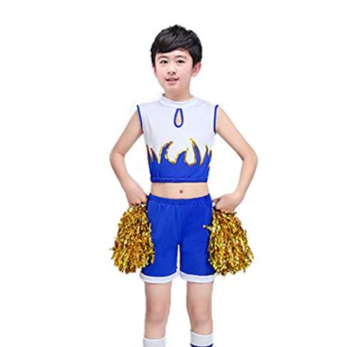 Aerobic Kinder Kostüm - SMACO Junge Cheerleader Kostüm Kind, Mädchen Cheerleader Kinderturnen Aerobic Kostüme,Blue,110CM