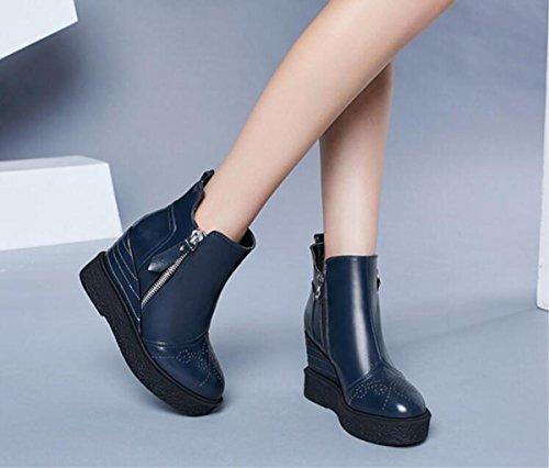 Automne Nouvelles Chaussures De Femmes / Chaussures D'hiver Martin Bottes 34-38 Chaussures De Femmes Bleu Foncé Serrant Les Bottes De Cheval
