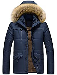 e3c0c241cb0 JIINN Men s Classic Winter Thicken Warm Removable Fur Hood Coats Parka  Military Bomber Hooded Jacket Outdoor