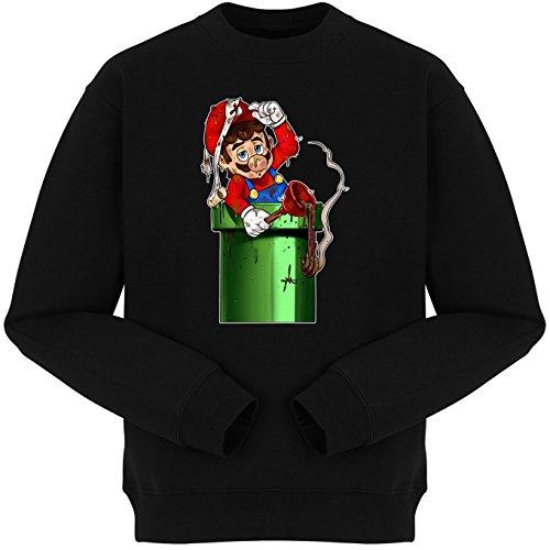 Pull Jeux Vidéo - Parodie Super Mario Bros le Plombier - Encore bouché... - Pull Noir - Haute Qualité (784) Noir