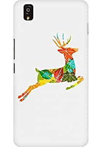 AMEZ designer printed 3d premium high quality back case cover for One Plus X (Colorful Reindeer Jump)