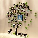 GOUZI Sofa Wand kreativ Acryl crystal Würfel Bilderrahmen Baum tv Sofas gestaltete Wände, schwarzer Baum + Grün Blatt Foto rahmen Baum (sehr kleine) Abnehmbarer Wall Sticker für Schlafzimmer Wohnzimmer Hintergrund Wand Bad Studie Friseur